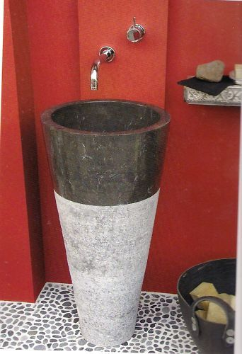 free standing black marble pedestal sink bathroom 90 cm x 40 cm cono model
